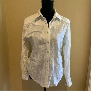 White Embroidered Western Top